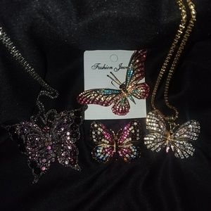 Pretty! Crystal Butterflies/Free Chain & Brooches